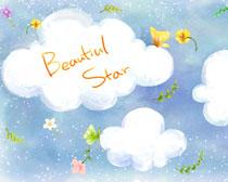 卡通云朵与蝴蝶PSD素材