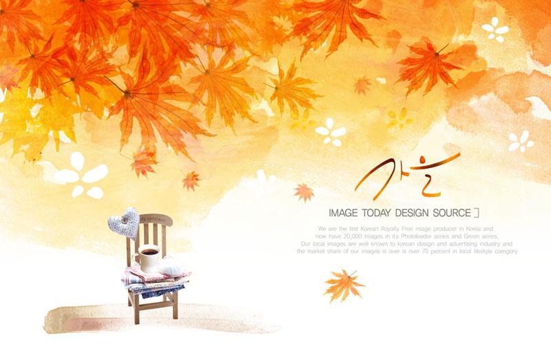 小提琴秋季背景psd素材 秋季叶子咖啡psd素材 秋天枫叶与旅行包psd