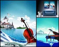 鋼琴小提琴風景壁畫高清圖片