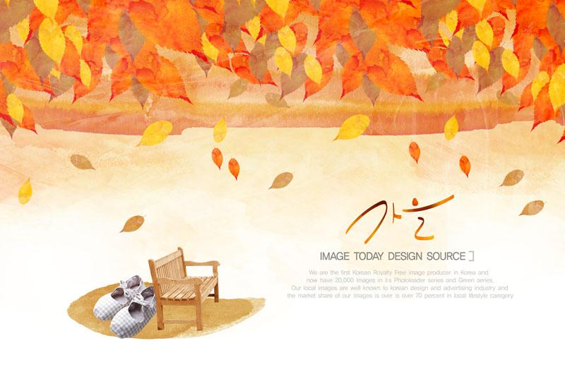 卡通動漫 油畫秋天 油畫秋季 韓國素材 鞋子 水墨畫 葉子 秋天封面圖片