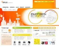 橙色韩国数码网页模板PSD素材