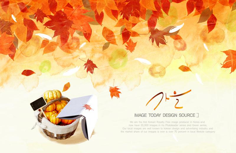爱图首页 psd素材 卡通动漫 秋天叶子 枫叶 秋季 秋天 篮子 南瓜 封面