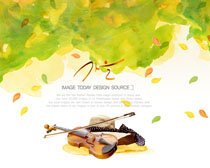 油画蓝色与提琴PSD素材