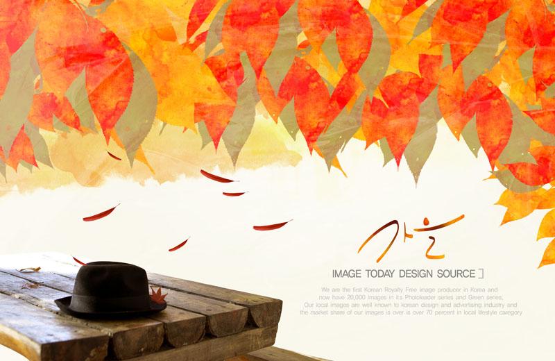 秋天葉子 秋季封面 封面模板 帽子 木桌 韓國素材 韓國秋天 油畫 水墨圖片