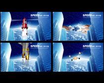 蓝色科技企业文化展板PSD素材