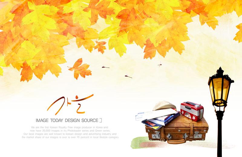 秋天枫叶与旅行包psd素材图片