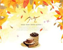 秋季叶子咖啡PSD素材
