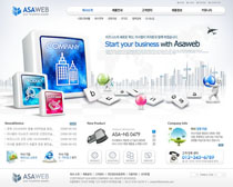 韩国蓝色企业网站模板PSD素材