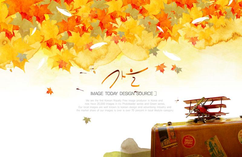 爱图首页 psd素材 卡通动漫 油画枫叶 秋天背景 秋天叶子 模型飞机