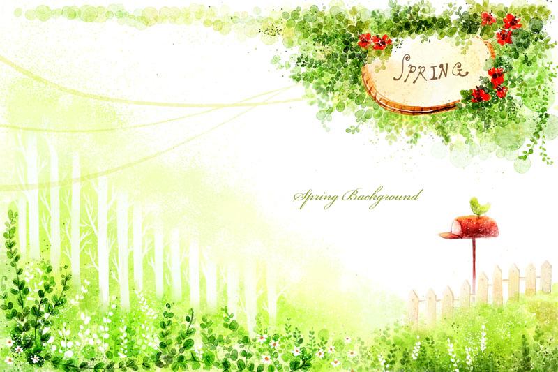爱图首页 psd素材 卡通动漫 春天风景 花草树木 绿色草地 园林风景