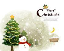 冬季雪人与圣诞树PSD素材