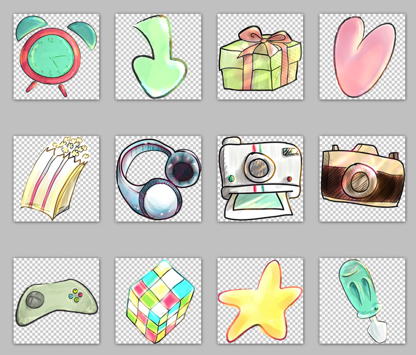 图标素材 创意图标 手绘图标 礼物 魔方 相机 闹钟 耳机 卡通星星