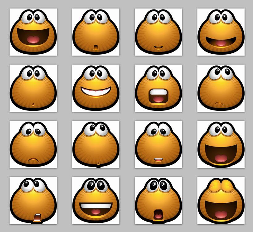 难过 创意 傻笑 瞪眼 童趣 大笑 qq表情 旺旺表情 微信表情 png图标