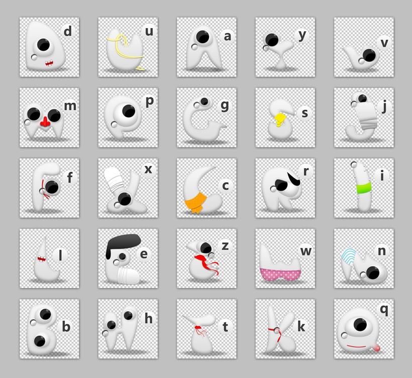 创意图标 个性 大眼睛 白色 英文字母 拼音 abcd 卡通 可爱 眼睛 png