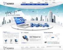 蓝色公司商务网站PSD源文件