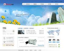 蓝色科技公司大厦网页PSD源文件