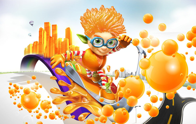 創意橙汁宣傳海報設計psd素材
