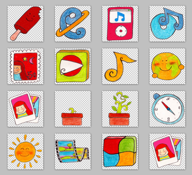15张儿童手绘png图标 - 爱图网设计图片素材下载