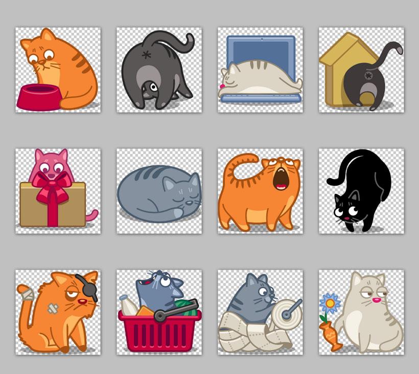 爱图首页 图标素材 卡通图标 卡通猫 可爱 童趣 胖猫 流氓猫 凶猛