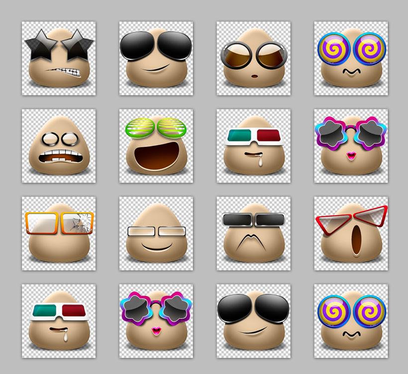 创意图标 聊天表情 qq表情 旺旺表情 微信表情 眼镜表情 可爱表情