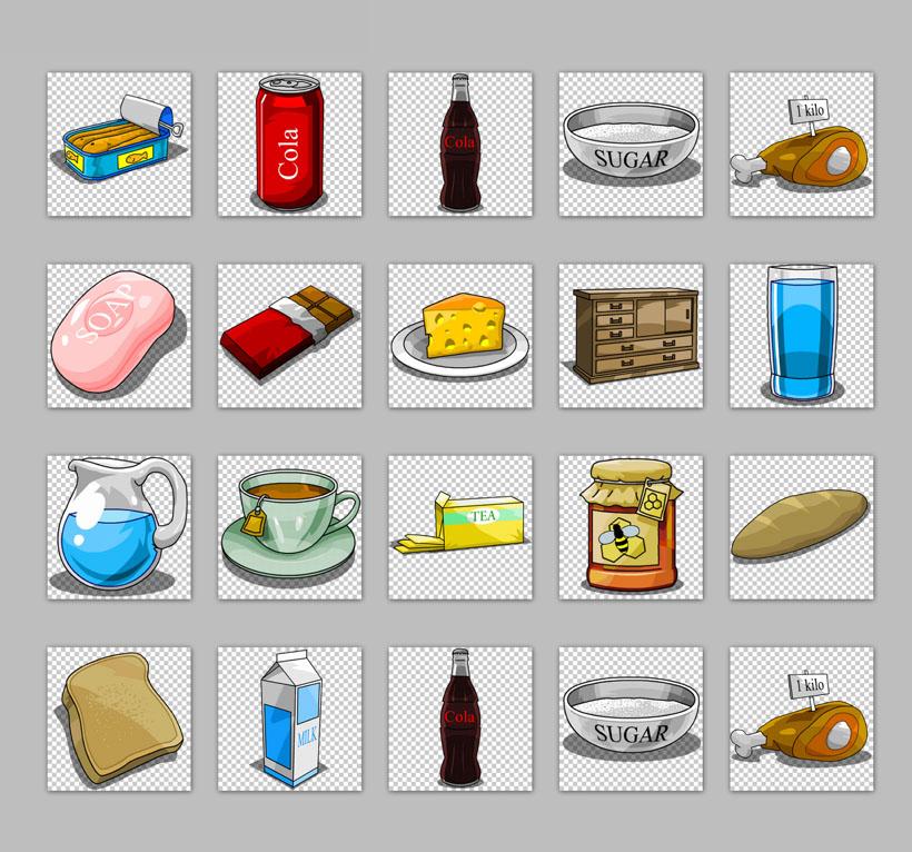 爱图首页 图标素材 卡通图标 手绘风格 食物 面包 可乐 肥皂 牛奶