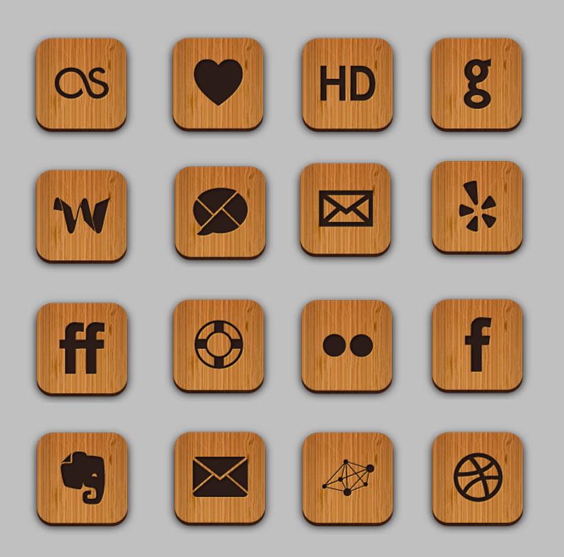 木质风格手机主题png图标