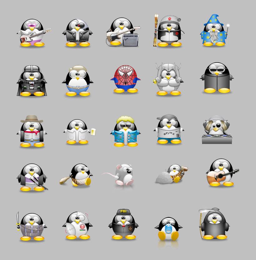 QQ企鹅聊天表情PNG图标 爱图网设计图片素材下载