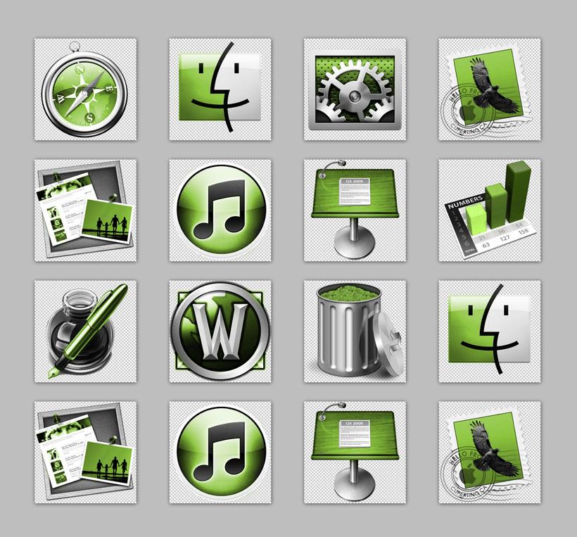 垃圾桶苹果树状图邮件音乐图标绿色电脑系统设计png