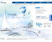 韓國發展企業公司藍色網頁PSD模板