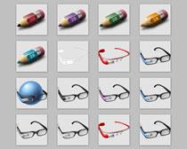 铅笔与眼镜PNG图标