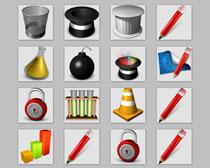 垃圾桶和铅笔PNG图标