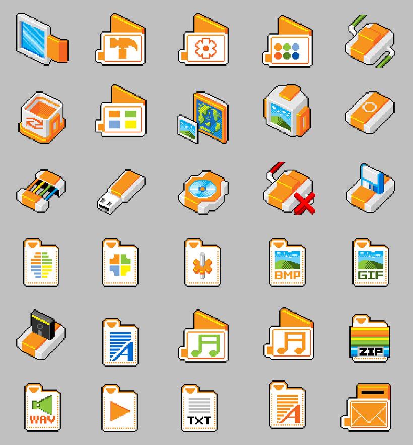桌面 电脑 主题风格 回收站 个性图标 光驱 方形图标 u盘 文件夹 可爱