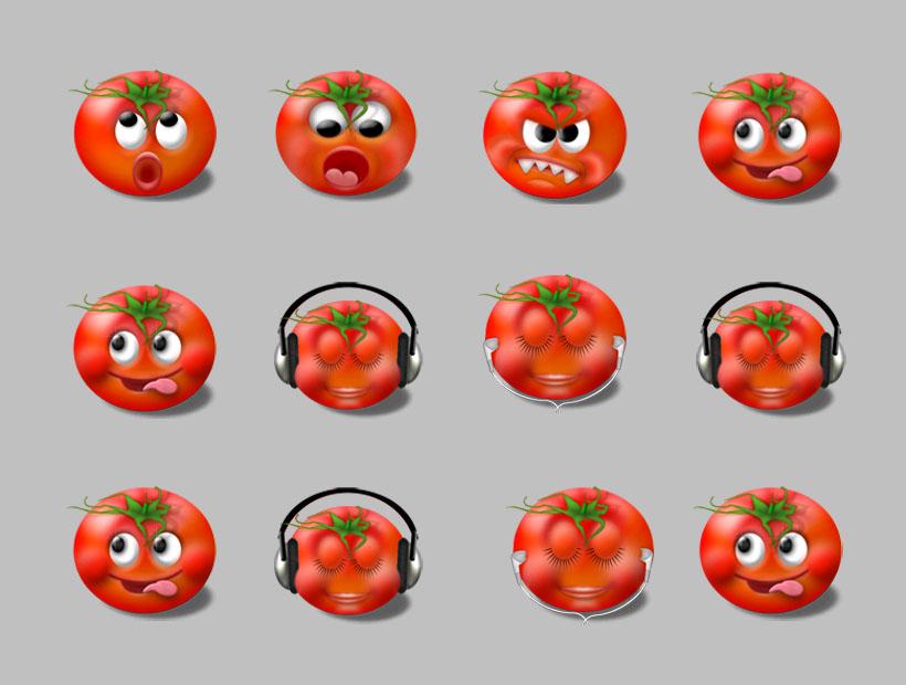 图标素材 生活图标 表情 卡通 可爱 西红柿 番茄 蔬菜 聊天表情 qq