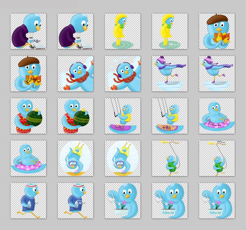 关键字: followmetwitter小鸟蓝色快乐卡通运动植物png素材png图标