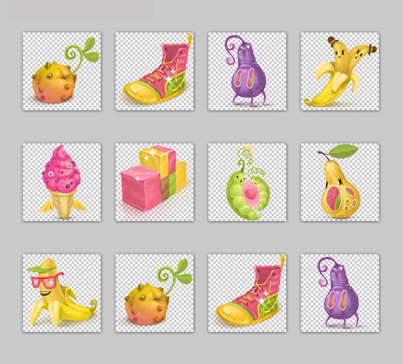 卡通香蕉鞋冰淇淋礼物鞋子发芽可爱葫芦梨水果png素材png图标免费素