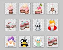 人物图像和蛋糕PNG图标