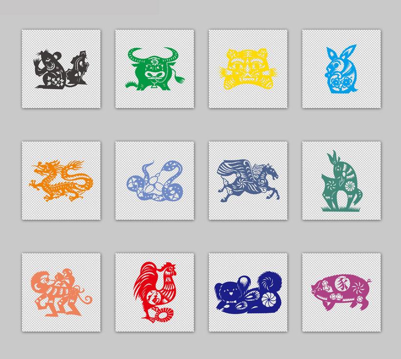 创意图标 动物 剪纸风格 卡通 生肖 十二生肖 中国元素 猪 狗 牛 羊