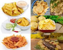 薯片马铃薯与鱼摄影高清图片