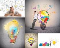 男人 创意/男人与创意灯泡摄影高清图片