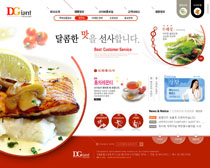 西餐美食韓國網站PSD源文件