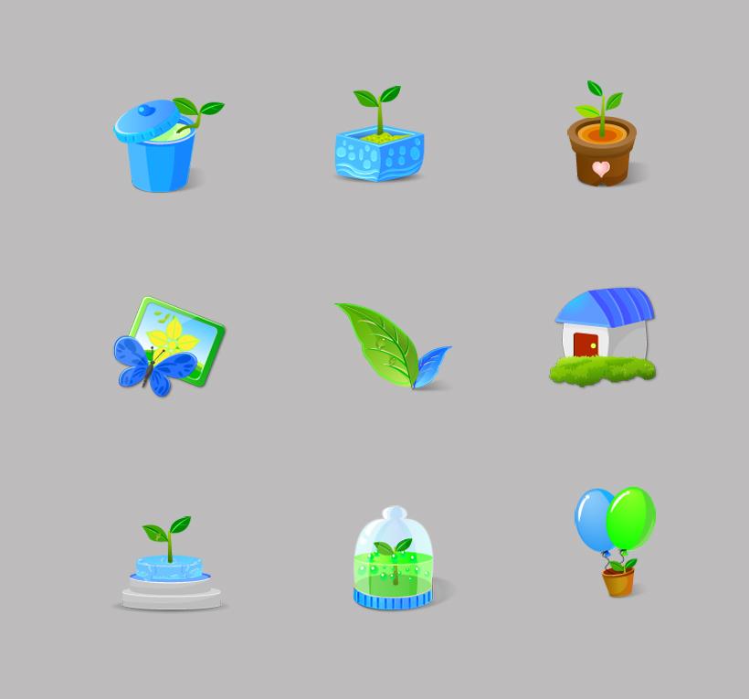 环保绿色植物png图标