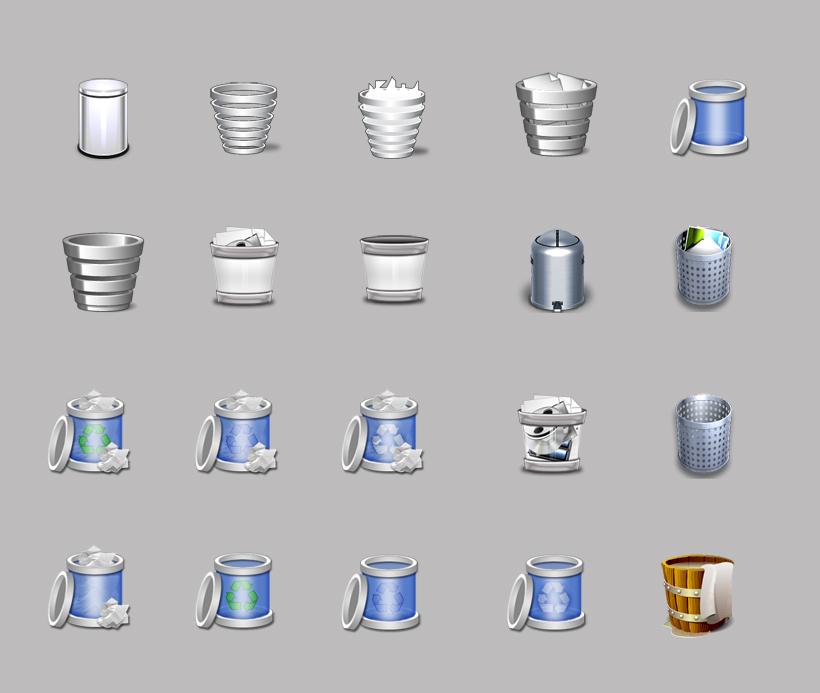 爱图首页 图标素材 创意图标 垃圾桶 半透明 win7 木桶 铝铜 银色的