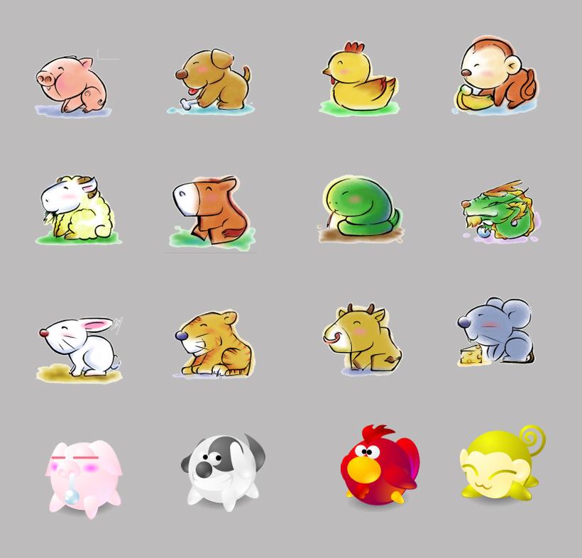 12生肖 动物 猪 鼠 鸭子 兔子 狗狗 蛇 龙 粉红色 卡通 羊 可爱 png