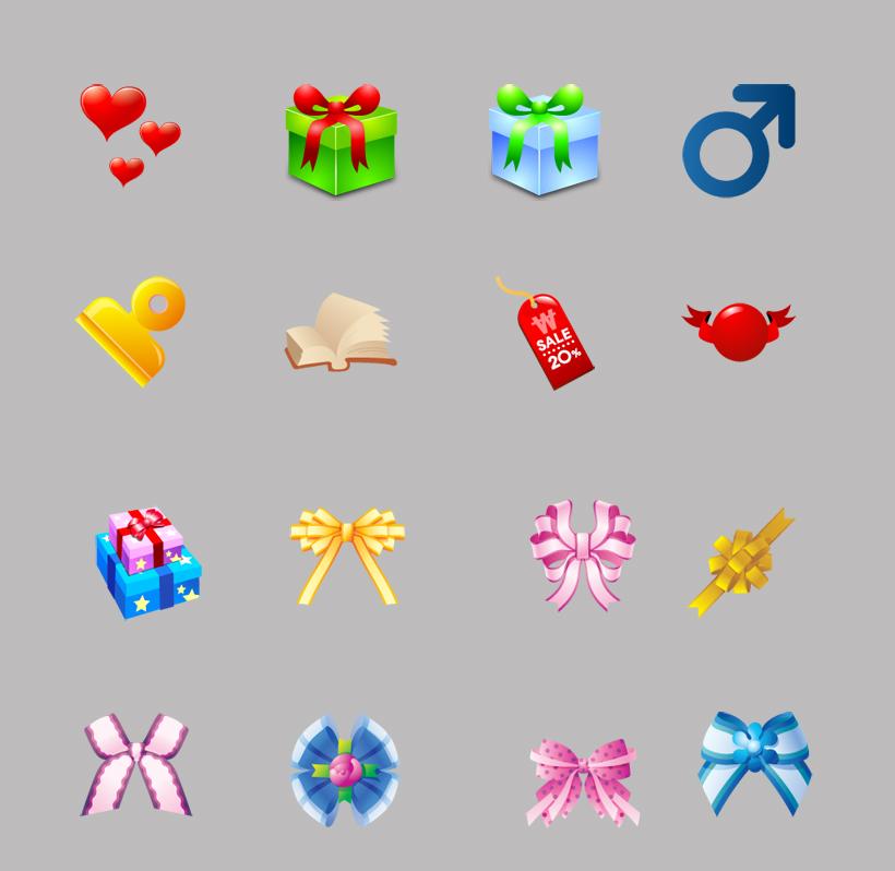 卡通图标 蝴蝶结 礼花 礼盒 模型 质感 可爱 蝴蝶结 钥匙扣 png图标