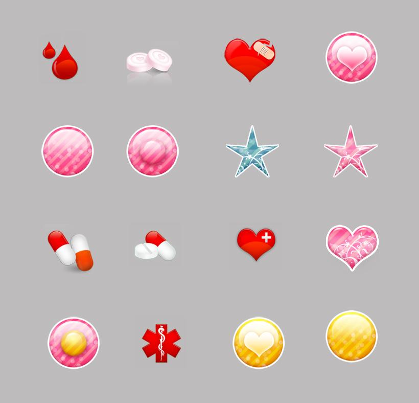 质感的红心和星星png图标