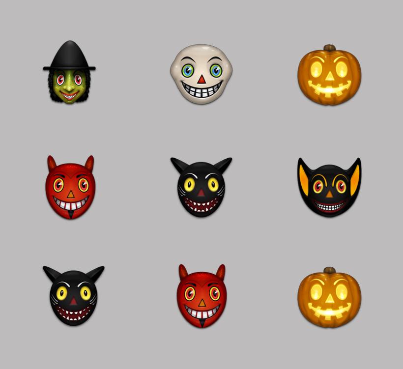 南瓜灯 大眼睛 怪物 长耳朵怪物 恐怖 bat cat devil pumpkin png图标