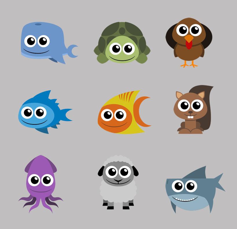 可爱的章鱼和水母png图标 万圣节怪物头像png图标 爱图网精选集(14)