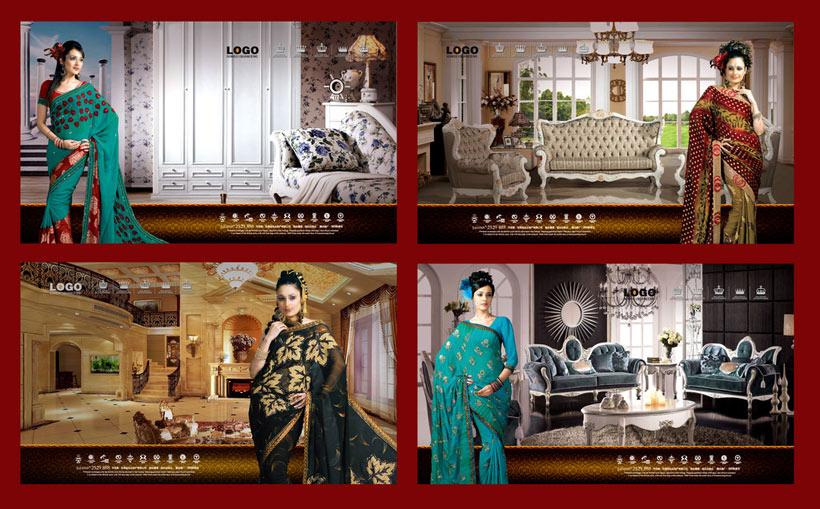欧式家具房地产美女海报设计广告设计模板psd分层