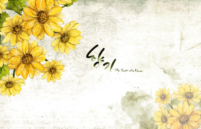 psd素材 花边花角 向日葵 韩国花朵 图案 封面 设计 字体 底纹 手绘