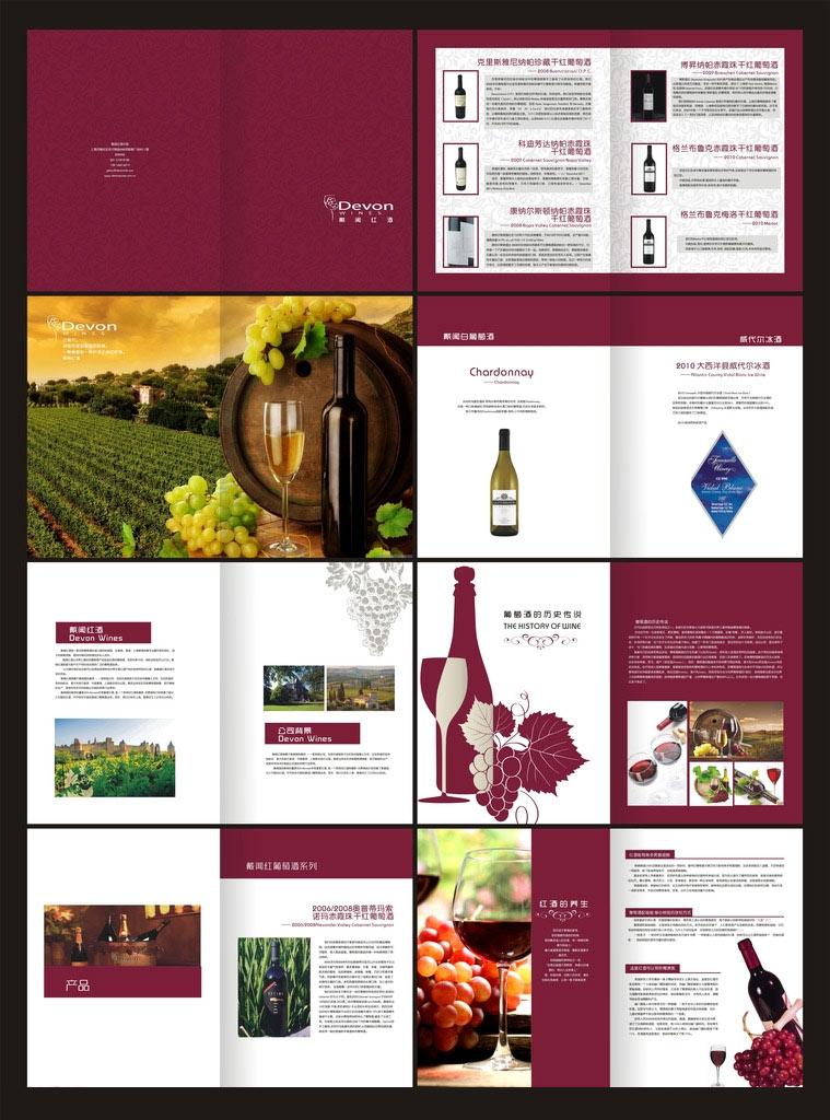宣传红酒文化葡萄酒葡萄白葡萄酒酒庄葡萄酒庄园酒瓶产品画册企业画册
